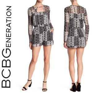 BCBGeneration Long Sleeve Printed Romper sz Large